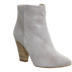 Office Flawless Ankle Boots ($125) ❤ liked on Polyvore featuring shoes, boots, ankle booties, ankle boots, grey suede, women, short cowboy boots, grey booties, high heel ankle boots and suede booties
