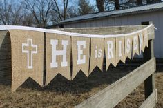 He Is Risen Easter Jesus Burlap Bunting Banner with White Fabric Letters and Cross for Photo Prop, Home Decor, Party or Church Decoration on Etsy, $17.00