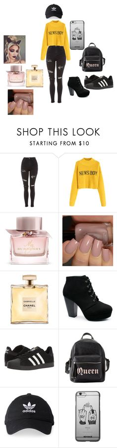 """""""Sem título #1"""" by kettelytomlinsom on Polyvore featuring moda, Topshop, Burberry, adidas e Charlotte Russe"""