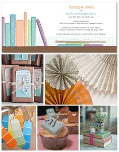 Book Exchange Party book exchange party, bookmark, book parti, inspiration boards, dinner parties, exchang parti, librari, baby books, tiny prints