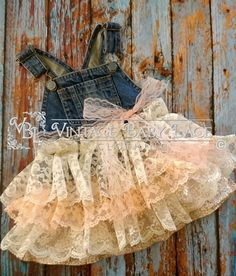 denim overall lace ruffle dress rustic wedding first birthday party baby toddler coral ivory 6 9 12 months summer spring Easter country rts