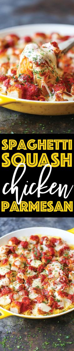 Spaghetti Squash Chicken Parmesan - An amazingly healthier version of everyone's favorite chicken parm without compromising taste. The best comfort food!