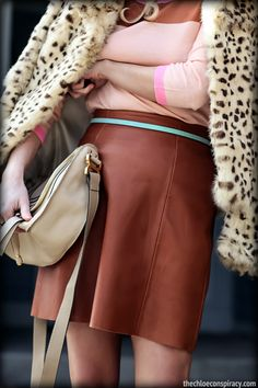 Outfit Of The Yesterday: Peach + Tan + Pink + Light Blue + Leopard (& The J Crew Colorblock Tippi Cashmere Sweater) | t h e (c h l o e) c o n s p i r a c y : fashion + life + style