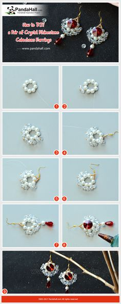 How to DIY Crystal Rhinestone Cabochons Earrings The main materials of the earrings are glass beads, seed beads and rhinestone cabochons. The method is to thread the beads into a hoop and stick the rhinestone cabochons in the middle of the hoop. Just have a try!