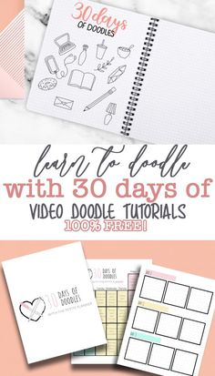 Learn to Doodle in 30 Days! 30 Days of Bullet Journal Doodles with video tutorials and free workbook! Bullet Journal Icons, Creating A Bullet Journal, Journal Fonts, Bullet Journal Printables, Journal Pages, Journal Ideas, Bullet Journals, Junk Journal, Planners