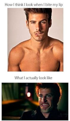 I think the comparison is stupid.  I just had to repost because I think the guy on the top is HOT! and the gut on the bottom is cute when hes making a normal face :)