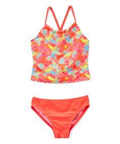 Coral Blurred Brights Tankini Top & Bottoms - Girls