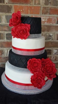 black and white with red roses wedding cake by max amor cakes