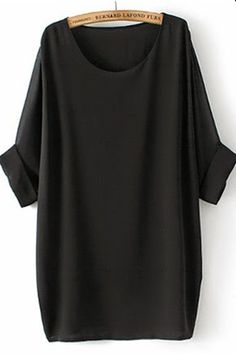 black plain round neck bat sleeve chiffon t-shirt, CiChic.com