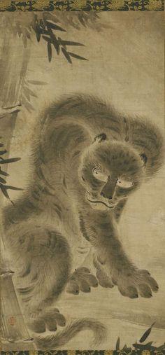 Tiger. One of a pair of scrolls. Philadelphia Museum of Art. Attributed to Kano Motonobu, Japanese, c. 1477 - 1559: