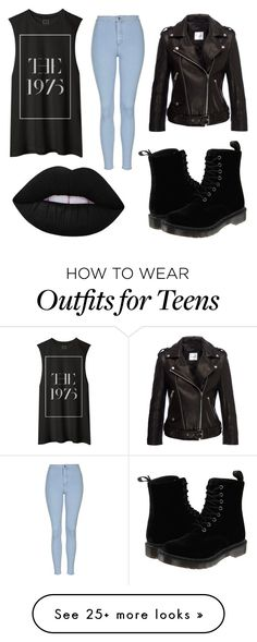 """1975 grunge"" by meepit1 on Polyvore featuring Topshop, Dr. Martens, Lime Crime, women's clothing, women, female, woman, misses and juniors"