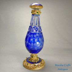 Cobalt Blue Austrian Jeweled Perfume Bottle