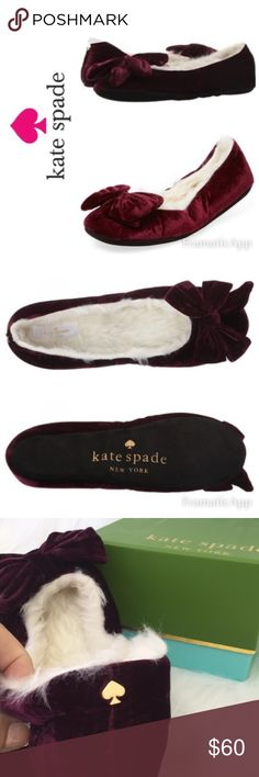 🆕♠️Kate Spade New York Bordeaux Velvet Slippers Most popular ♠️Kate Spade New York Scarlett Bordeaux Velvet Slippers //  Brand New soft velvet slippers in original ♠️Kate Spade Box // Bow detail on toe, slip-on construction, Faux fur lining and footbed        🚭SMOKE FREE🚭BUNDLE & SAVE🛍🛍 kate spade Shoes Slippers