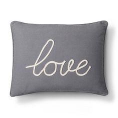 Love decorative pilllow- gray