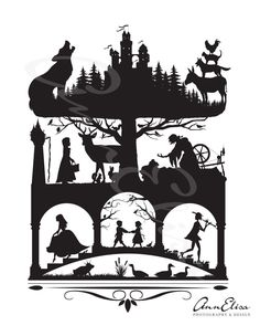 Brothers Grimm Fairy Tales Silhouette Collage by AnnElisaPhotoDesign. Maybe stencil these?-Lindz