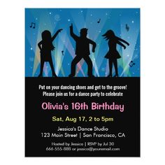 Stylish Trendy Teens Disco Dance Birthday Party Invitation Disco Birthday Party, 17th Birthday, Birthday