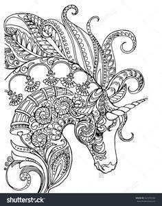 Elegant zentangle patterned unicorn, doodle page for adult colouring book, vector design