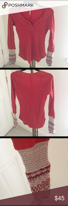 {Free People} Thermal Top Form-fitting thermal top with beautiful knit cuffs perfect for layering. Henley style with metal buttons down the front. Worn twice, no flaws.  {ask questions & submit offers} Free People Tops Tees - Long Sleeve