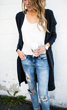 Love Distressed denim with basic white tee and coatigan. Love colors and casual comfortable style.