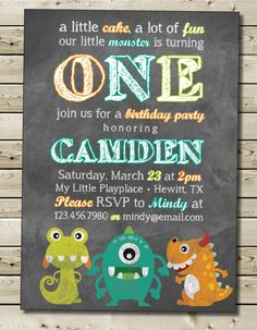 Friendly Monster Birthday Invitation Boy or Girl Birthday Party Invitation Color Chalkboard Theme with Photo Option 5x7 - Custom Printable on Etsy, $12.00