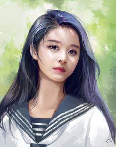 Digital art girl drawing Ideas for 2019 Digital Art Girl, Digital Portrait, Portrait Art, Korean Art, Asian Art, Manga Girl, Anime Art Girl, Hiba Tan, Twice Fanart