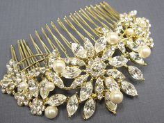 Gold bridal hair comb gold wedding hair jewelry by EverythingBride