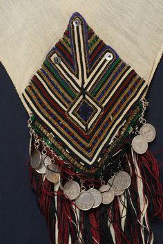 Greece, Macedonia, Florina, festive head kerchief, cotton, silk thread, beads