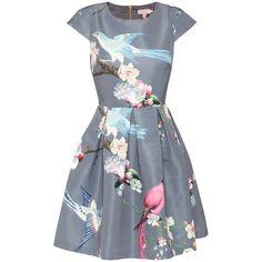 Ted Baker Zaldana Flight Of The Orient Print Dress, Light Grey ($250) ❤ liked on Polyvore featuring dresses, floral dress, fit and flare midi dress, mini dress, maxi dress and full maxi skirt