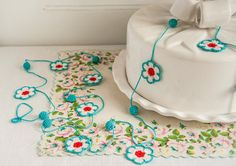 Flower and Bauble Crochet Garland  Aqua Red White by BobbiLewin, $70.00
