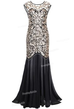 PrettyGuide Women 's 1920s Black Sequin Gatsby Floor Length Evening Party Dress Trumpet Maxi Long Dress *** Want additional info? Click on the image.