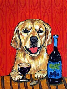 Golden retriever at the Wine Bar signed dog art print gift ? Friendly Faces