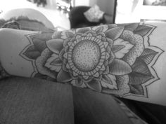 Dot work black and gray floral tattoo, done at Diablo Ink Ipswich UK by Grant Martin.