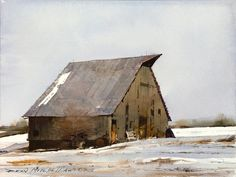 "Painting of the Day - Dean Mitchell, ""Winter Barn"", x Watercolor Watercolor Barns, Watercolor Artists, Watercolor Landscape, Landscape Paintings, Watercolor Paintings, Barn Paintings, Watercolours, Watercolor Trees, Indian Paintings"