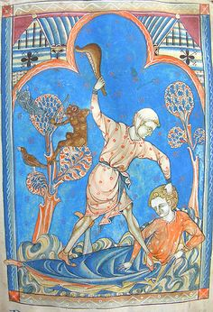he death of Abel - MS one of a sequence of 46 Biblical illustrations inserted at the front of a fourteenth-century Psalter (English) Medieval World, Medieval Art, Medieval Manuscript, Illuminated Manuscript, Caim E Abel, Maleficarum, Renaissance Kunst, Cain And Abel, Book Of Hours