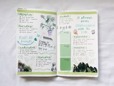 "tt-studycorner: ""» 16th January, 2017 « My first bullet journal spread of the year! Date: 9-15 jan. Theme: green. """