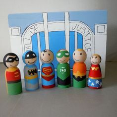 Super Hero Friends Wooden Peg Doll Set with by digraziarosa