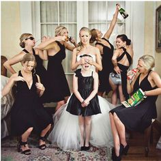 Embrace Bridal Party Hijinks  Classic bridal party portraits are necessary, but after what feels like hours of standing perfectly composed, smiling just enough, we think you deserve some fun. Throw in a few creative wild cards to add variety to your photo album.