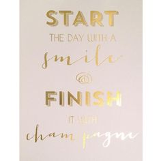 Start The Day With A Smile Gold Foil Print | 20 x 25 by Anrol Designs on POP.COM.AU