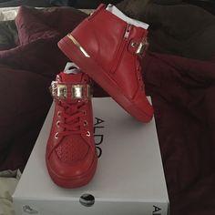 5ee0ead5b72 ALDO Sneakers Red ALDO sneakers with gold hardware. Women s 8. Brand new