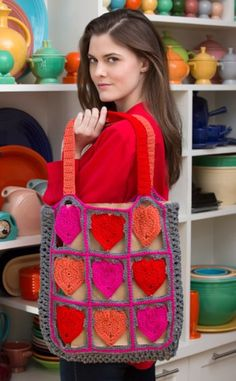 I Love My Tote Bag in Red Heart Super Saver Economy Solids - LW4069