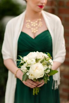 Emerald Green Winter Wedding - Lovely flowers by Fiore Fine Flowers | See the wedding on SMP:  http://www.StyleMePretty.com/connecticut-weddings/southport/2014/02/28/emerald-green-winter-wedding/ Katelyn James Photography