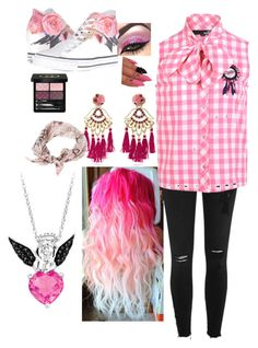 """Pink and Black"" by alex-hawk-24 on Polyvore featuring Gucci, Mercedes Salazar, Converse, River Island and Love Moschino"