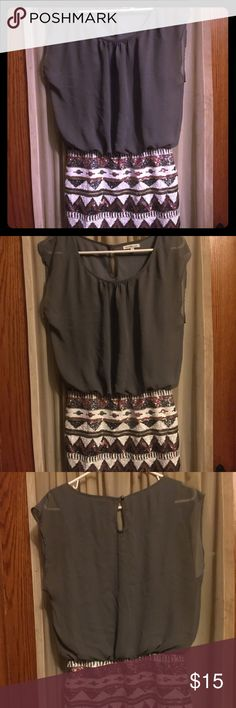 Charlotte Russe gray and sequence dress. Tribal sequence skirt, gray blouse top Charlotte Russe Dresses Midi