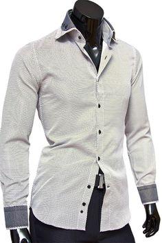 Купить Светлая приталенная рубашка с двойным воротником фото недорого в Москве