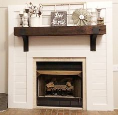 Fireplace ideas, rustic fireplaces, rustic mantle decor, farmhouse decor, f Farmhouse Fireplace Mantels, Wooden Mantel, Shiplap Fireplace, Rustic Fireplaces, Home Fireplace, Fireplace Remodel, Fireplace Design, Fireplace Ideas, Fireplace Decorations