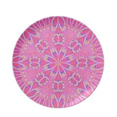 Pink Blue Yellow Geometric Plate