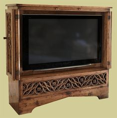 Hand carved oak tracery TV cabinet, shown in viewing mode, with bi-fold doors open Oak Tv Cabinet, Tv Cupboard, Tv Stand Cabinet, Tv Cabinets, Painted Furniture, Diy Furniture, Furniture Design, Knock On Wood, Tv Armoire