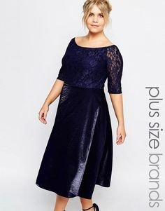 6cd767a009 Truly You Lace Bardot Full Skirt Midi Dress Plus Size Fashion For Women