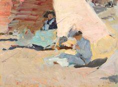 Joaquín Sorolla y Bastida (Spanish, 1863-1923).La Playa, Biarritz. Oil on board.6¼ x 8½ in. (15.8 x 21.5cm.)