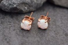Gorgeous Opalite Rose Gold Stud Earrings for Earring, Tragus Earring, Cartilage Earring Conch Piercing, Rook Piercing, Helix Earring etc. ***This Listing is for 1 Pair*** What is the size of these pie
